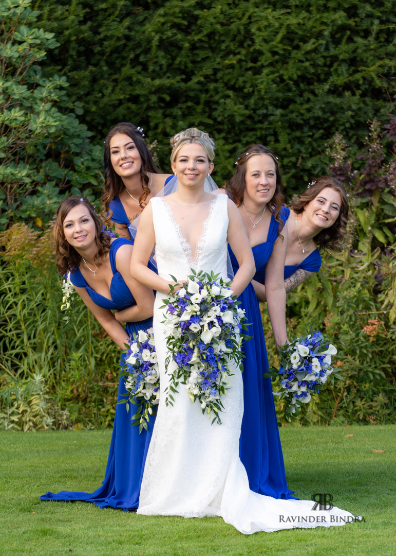 funny photo of the bride and bridesmaids at balbirnie house