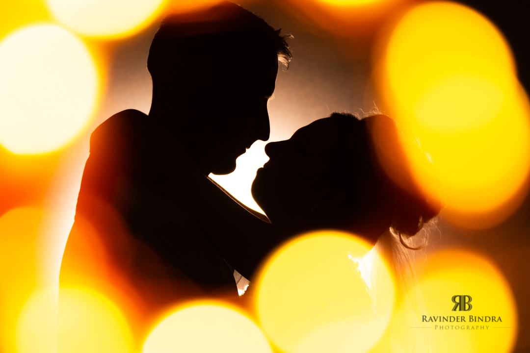 creating silhouette photo of the bride and groom at balbirnie house using fairy lights and flash