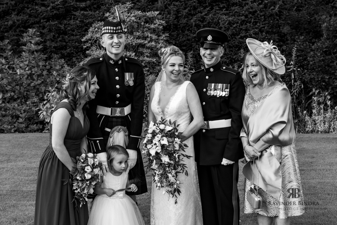 black and white family photo of bride and her family at balbirnie house wedding