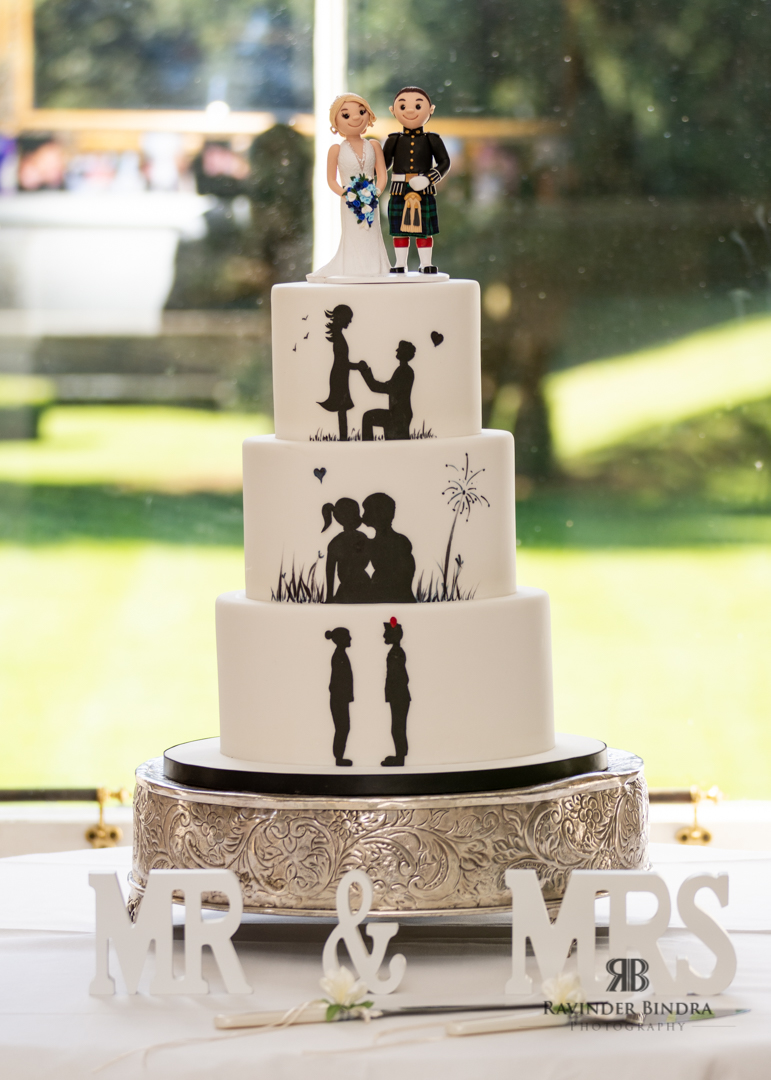 photo of the wedding cake at balbirnie house