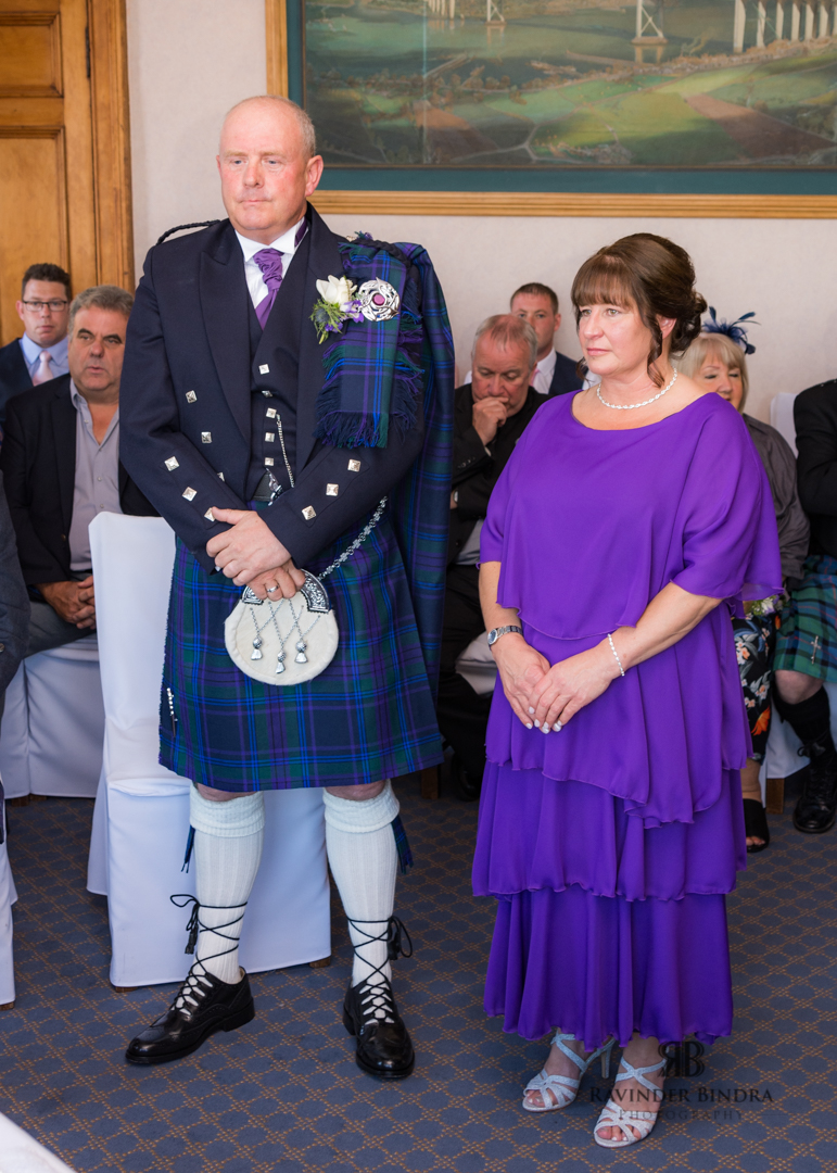 bride and groom at wedding ceremony in south queensferry