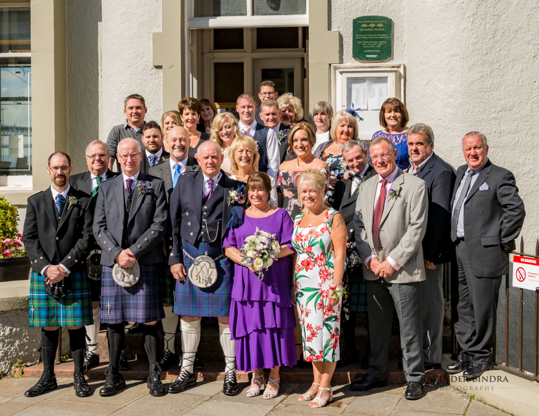 group photo at south queensferry wedding