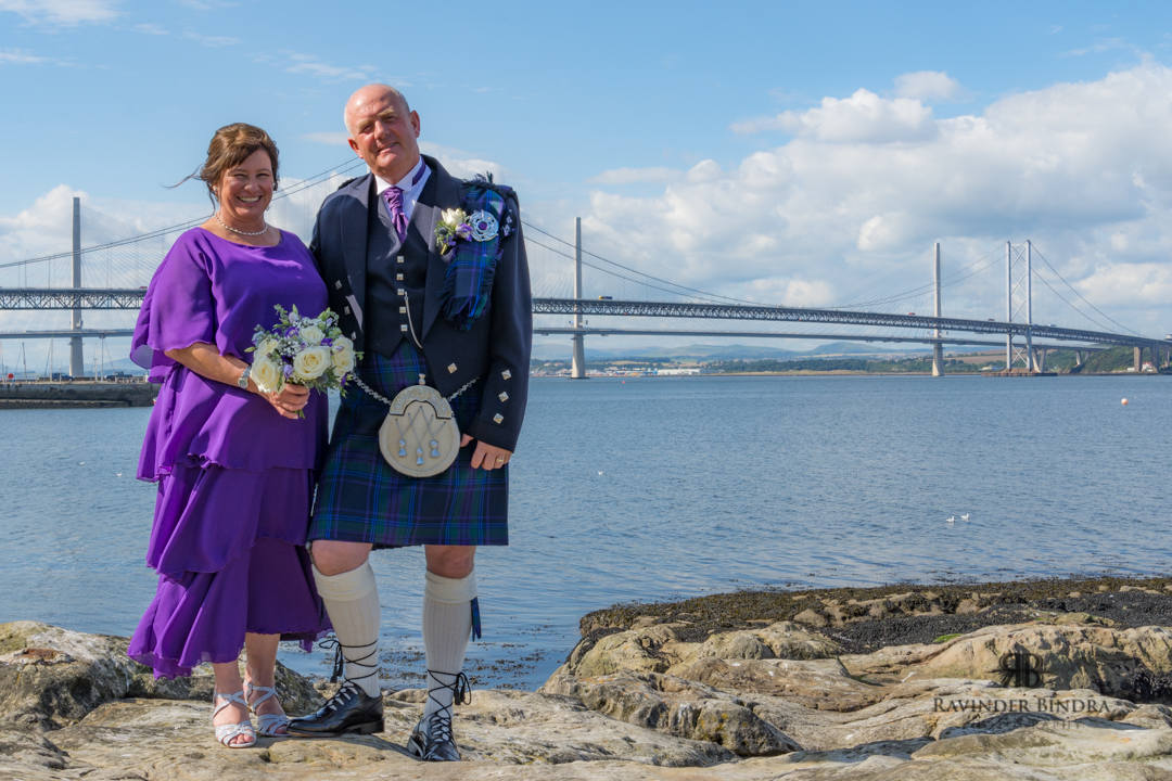 photo of bride and groom at south queensferry wedding