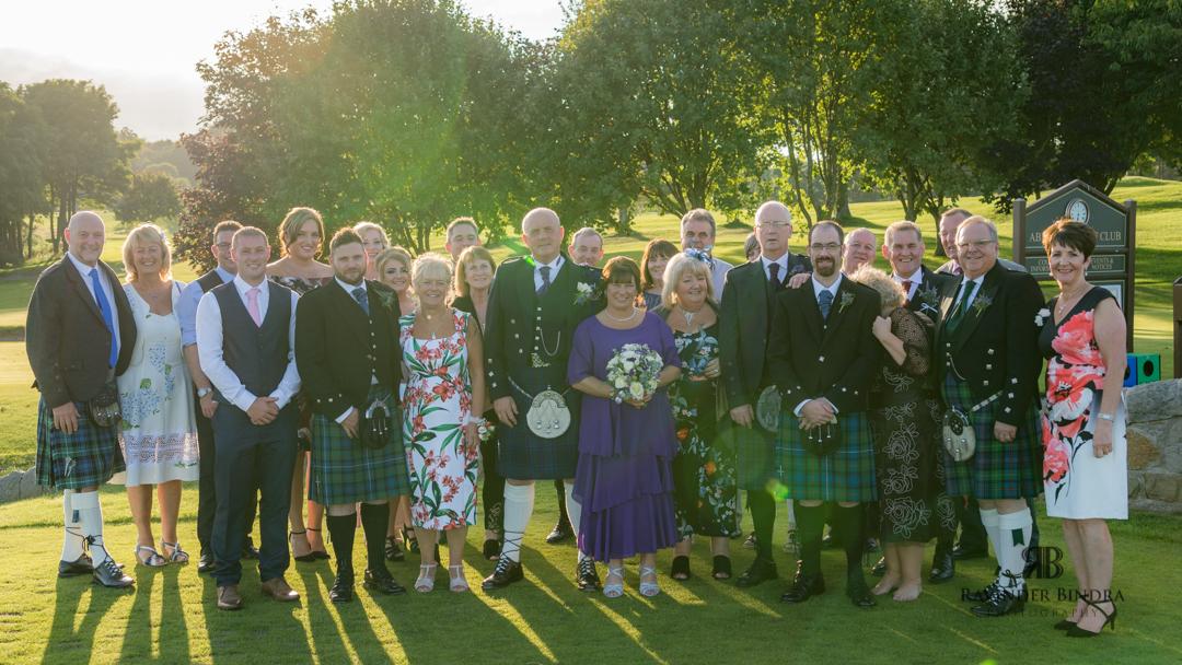 group photo at aberdour fife wedding