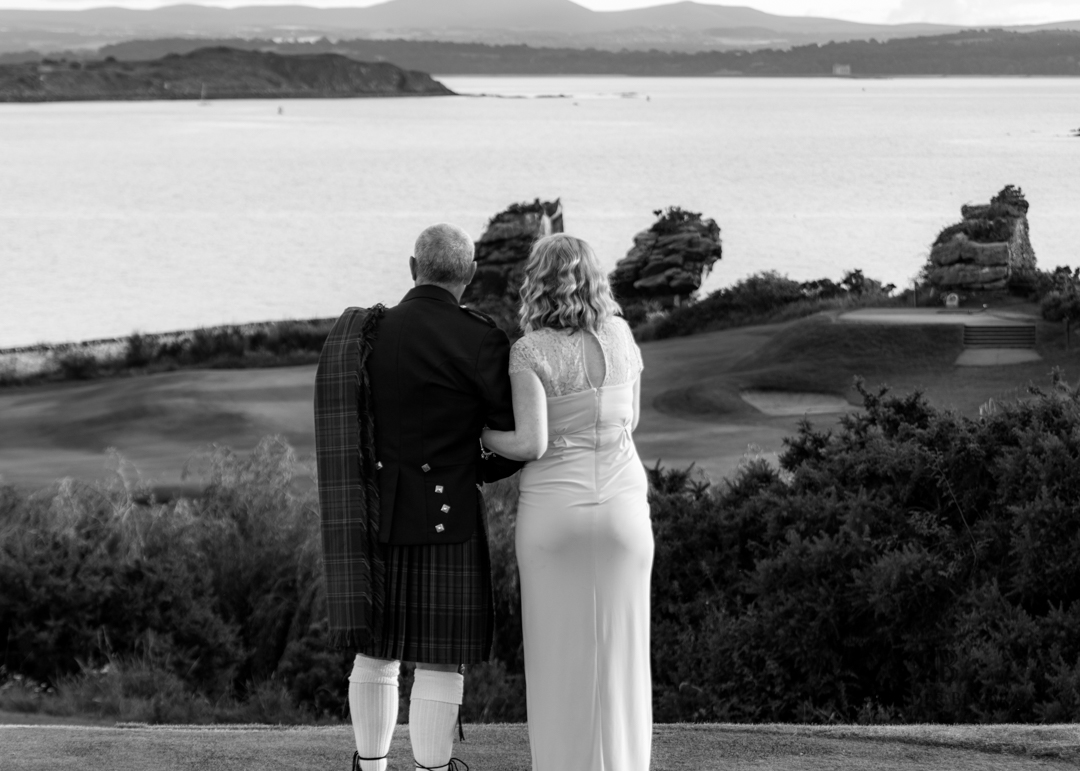 groom and daughter photo in black and white at fife wedding